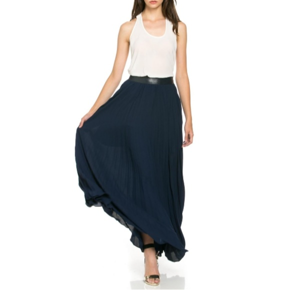 TOV Holy Dresses & Skirts - Navy Pleated Maxi Skirt